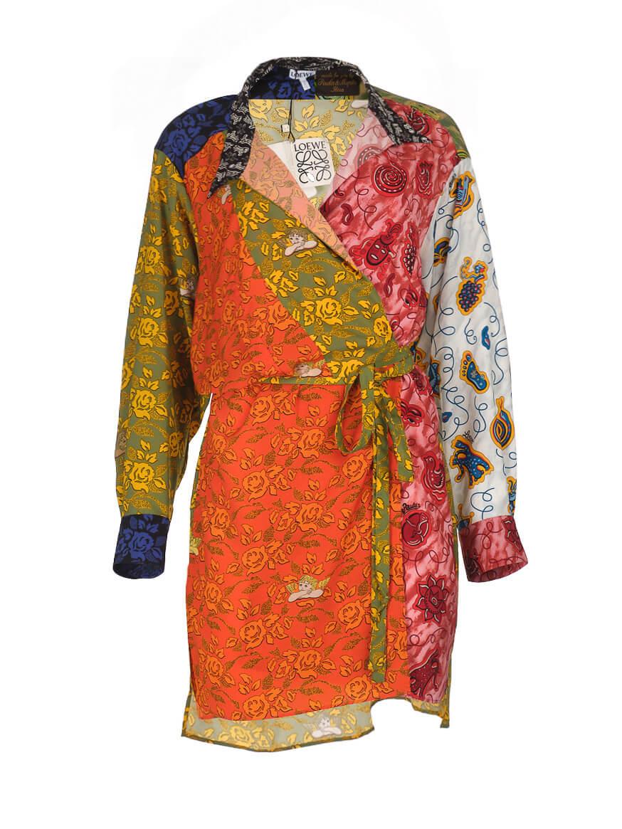 Women Loewe Belted Patchwork Print Wrap Shirt Dress - Multicolour Size M UK 12 US 8 FR 40