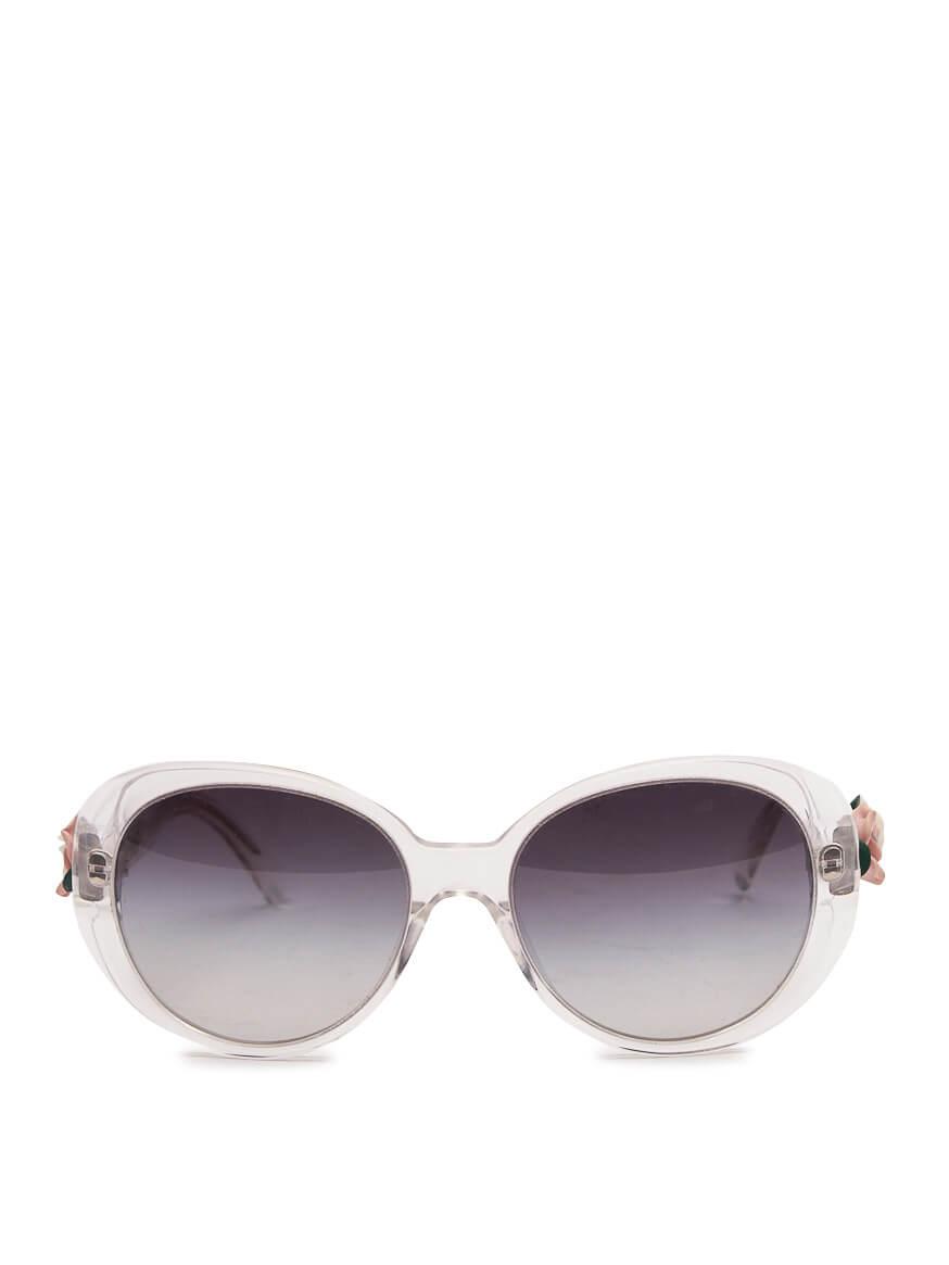 Women Dolce & Gabbana Rose Embellished Sunglasses - White