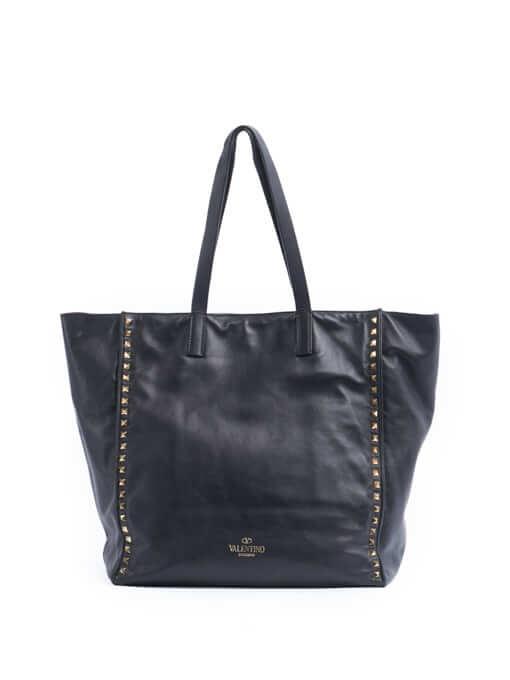 Women Valentino Rockstud Shopper Tote Bag - Black