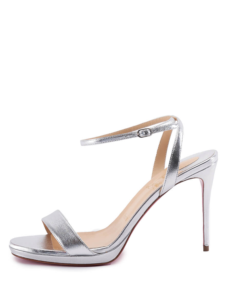 Women Christian Louboutin Loubi Queen Ankle Strap Sandal Heels - Silver Size UK 6 US 9 EU 39