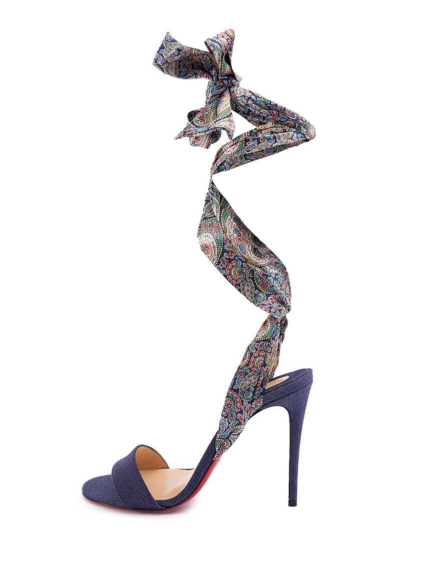 Women Christian Louboutin Sandale Du Desert Printed Sandal Heels - Multicolour Size UK 6 US 9 EU 39