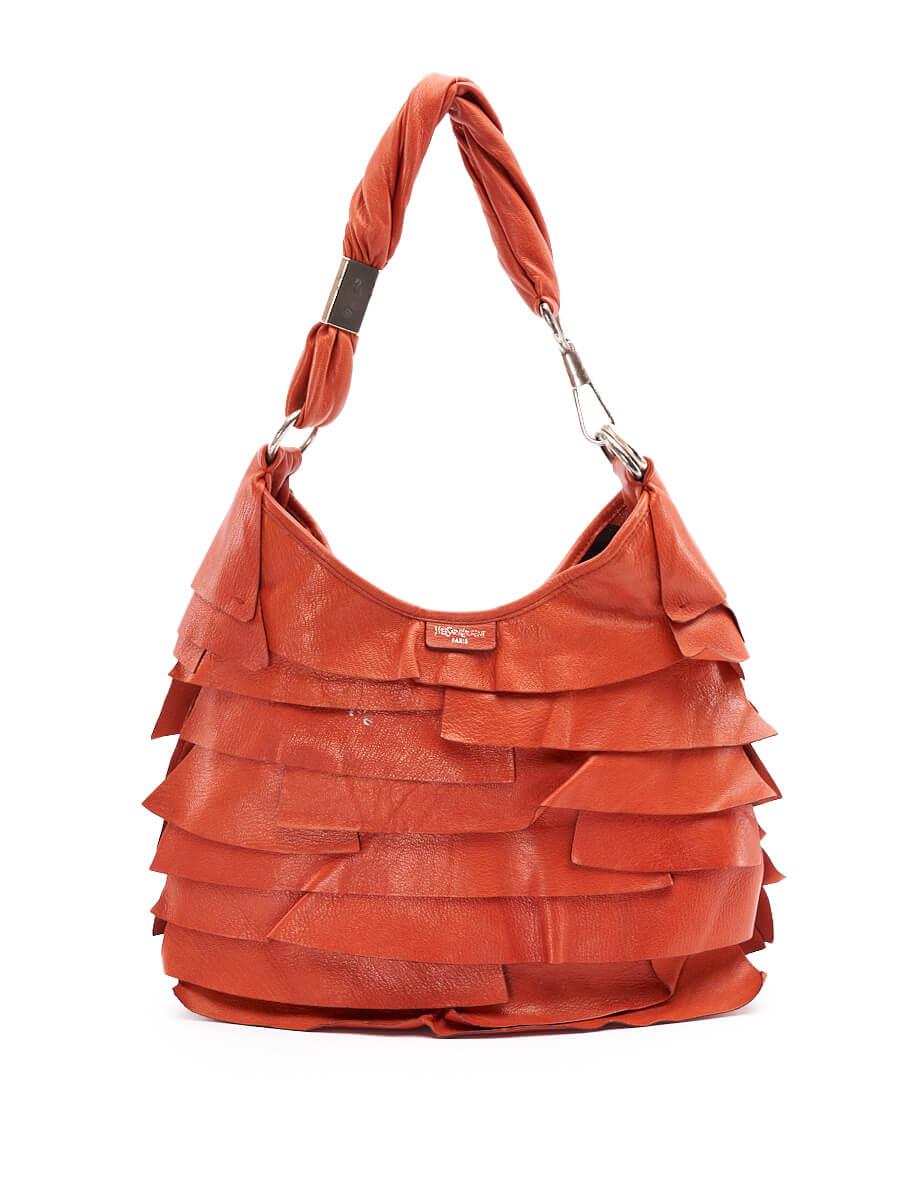 Women Yves Saint Laurent Mombasa Ruffle Big Handbag - Orange
