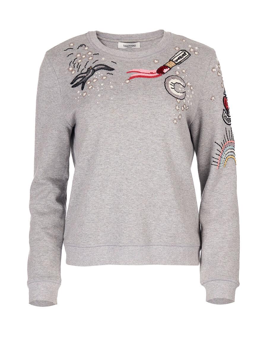 Women Valentino Garavani Grey Bead Embroidered Sweatshirt - Size L UK 12 US 8