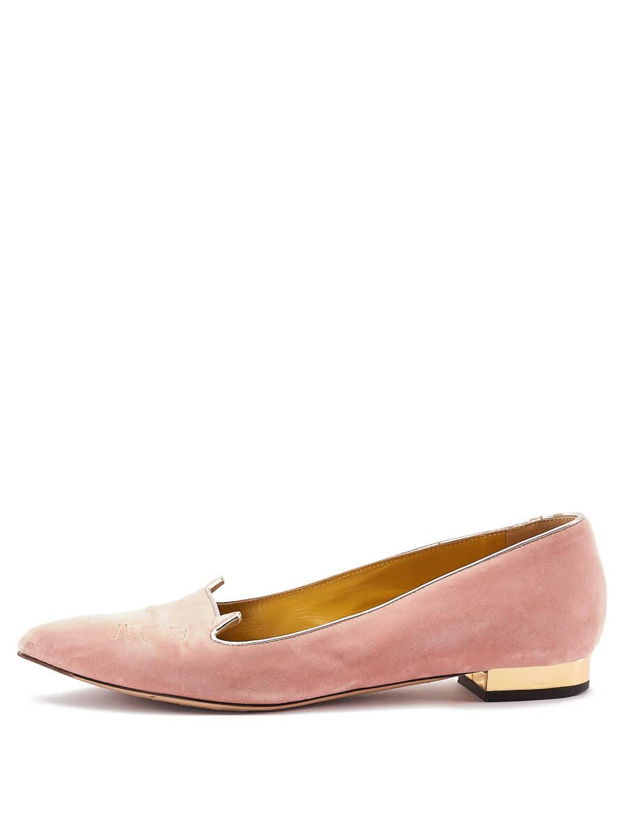 Women Charlotte Olympia Pink Velvet Lol Kitty Flats - Size UK7 US10 EU40