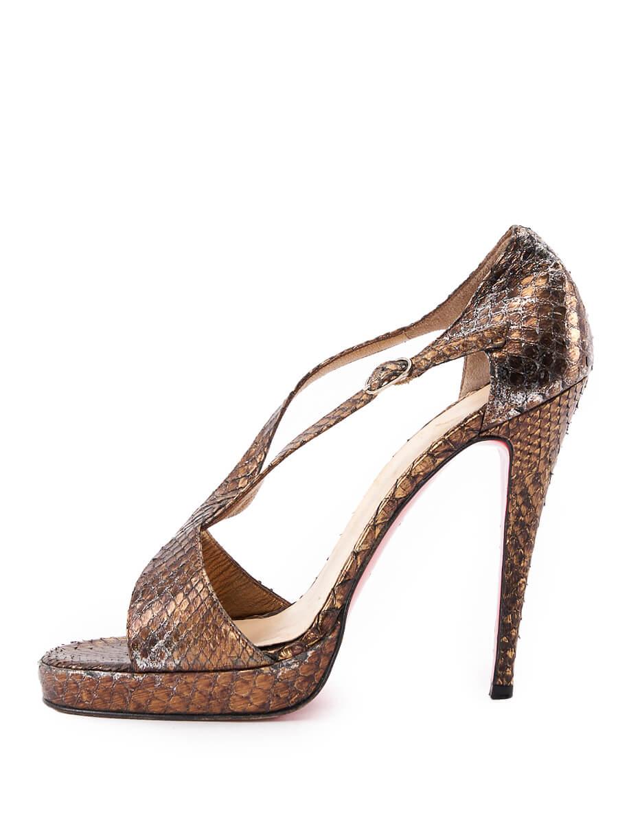 Women Christian Louboutin Bronze Python Leather Criss Cross Sandal Heels - Size UK6 US9 EU39