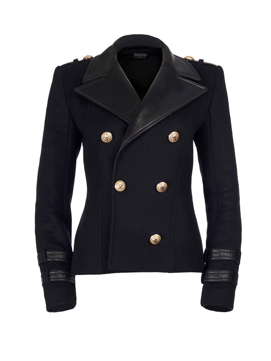 Women Balmain Black Wool and Leather Blazer Coat - Size S UK8 US4 FR36
