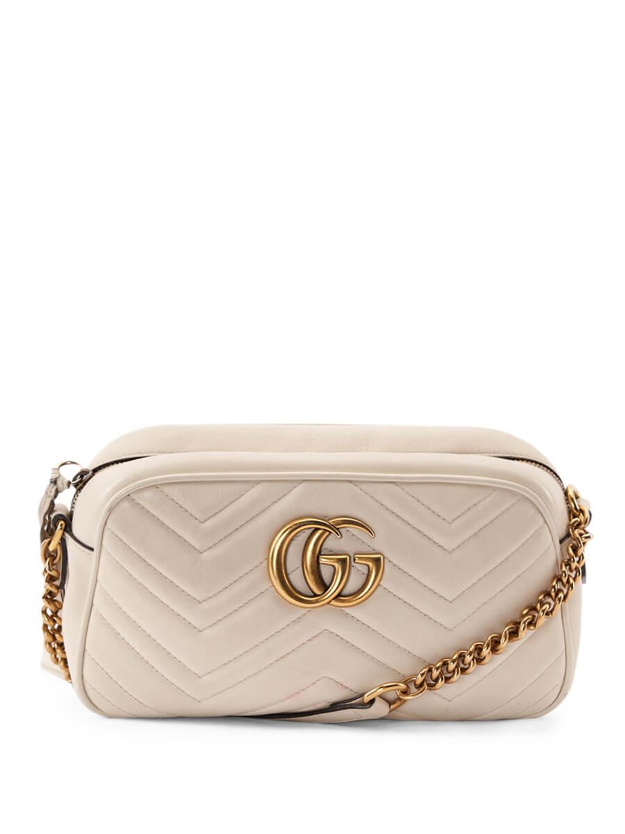 Women Gucci White Leather GG Marmont Camera Crossbody Bag