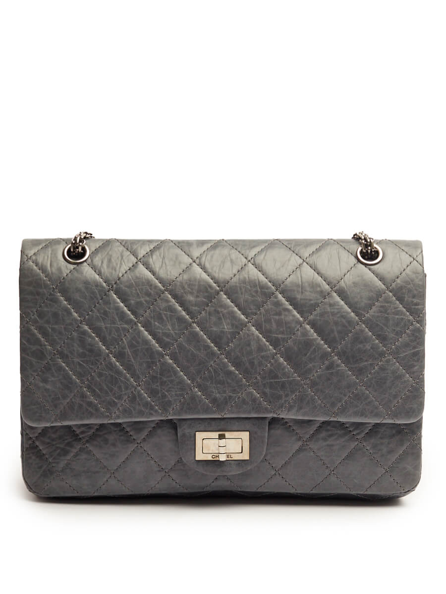 Women Chanel Grey Leather Large Reissue 2.55 Bag