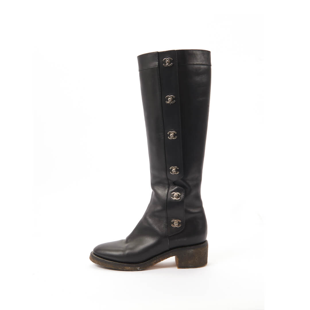 Women Chanel Knee-High Boots with Chanel Buttons Black -  Black Size 40 US 9.5 EU 40