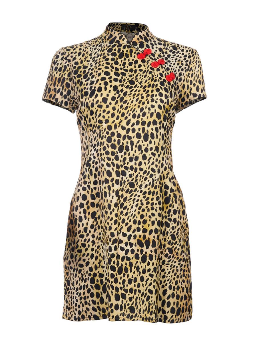 Women De La Vali Leopard Silk Print Suki Dress - Size M UK10 US6