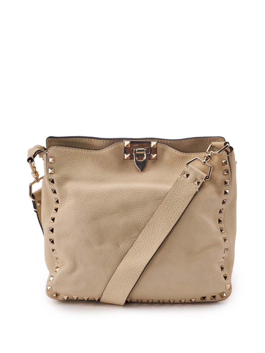 Women Valentino Garavani Cream Leather Rockstud Hobo Bag