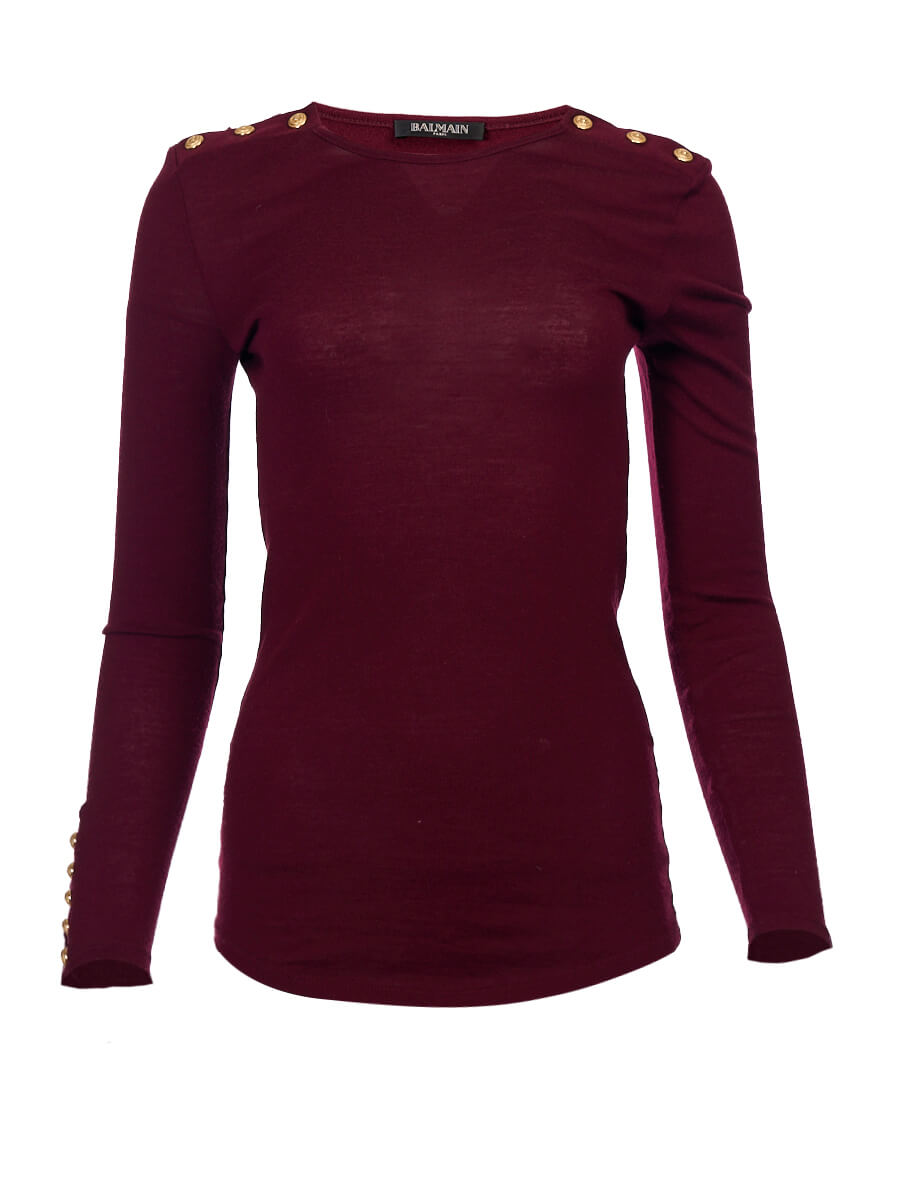 Women Balmain Burgundy Wool Boat Neck Sweater - Size M UK10 US6 FR38