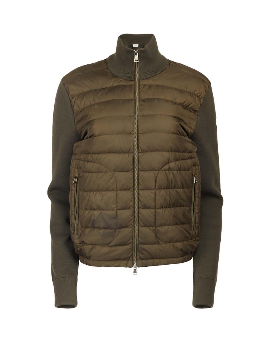 Women Moncler Khaki Cardigan Knit Sleeve Down Puffer Coat - Size M UK10 US6