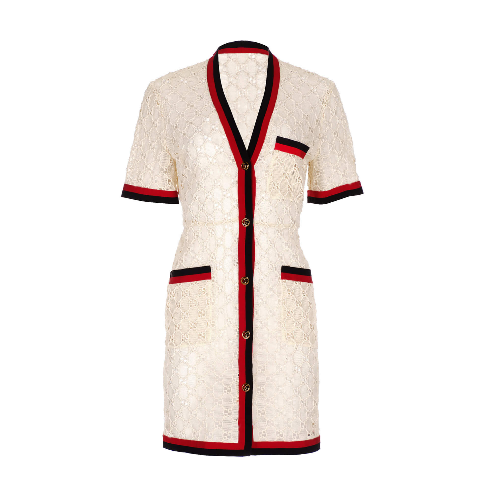 Women Gucci Short Sleeve Button Dress -  White Size S IT 42 US 6