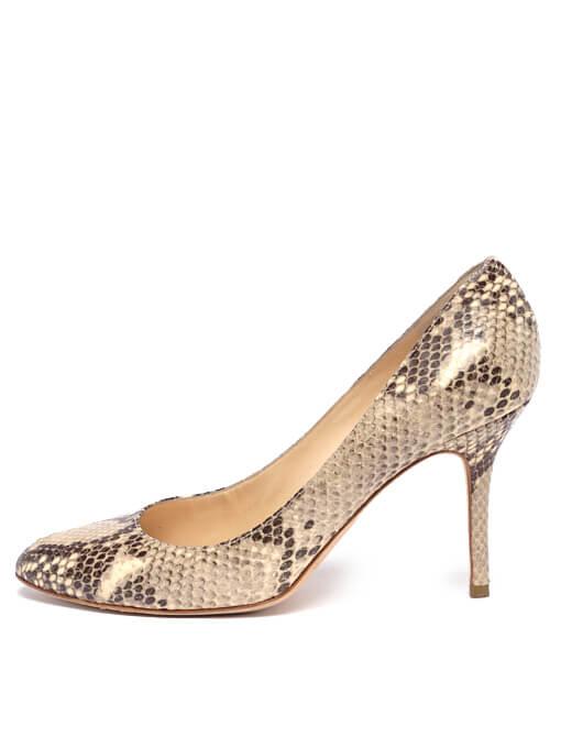 Women Jimmy Choo Esme Python Heels -  White Size 39.5 US 9.5