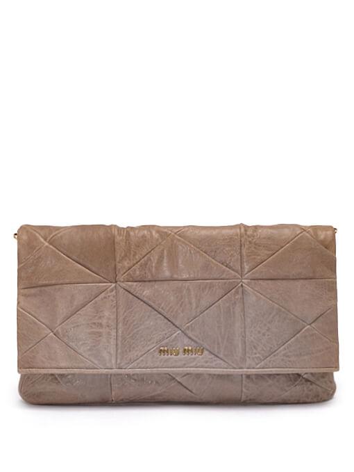 Women Miu Miu Leather Clutch -  Grey
