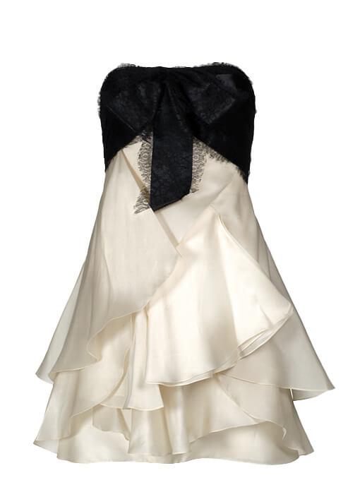 Women Marchesa Strapless Ruffle Dress -  White Size M US 8