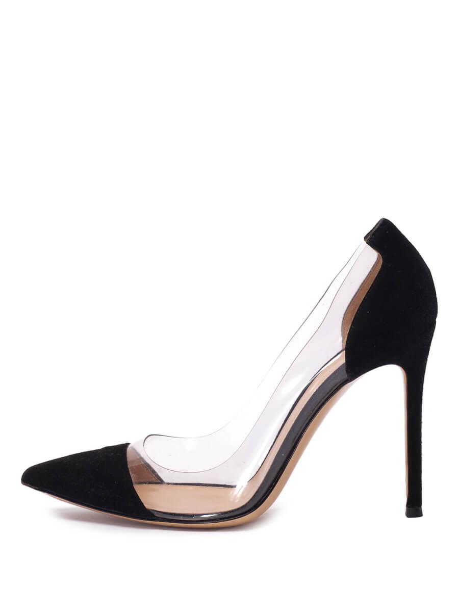 Women Gianvito Rossi Plexi Pointed Pumps -  Black Size 38 US 8