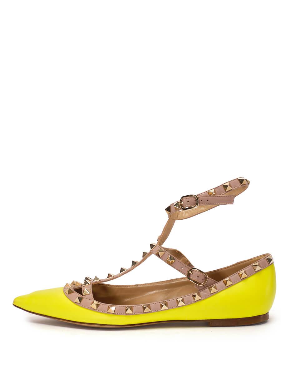 Women Valentino Rockstud Caged Ballerina Flats -  Yellow Size 38.5 US 8.5