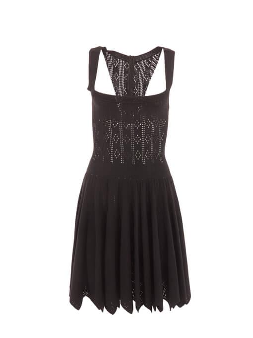 Women Alaïa Cutout Fit & Flare Dress - Black Size M UK 10 US 6 FR 38