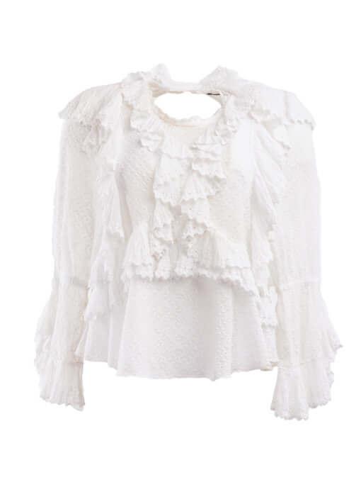 Women Isabel Marant Ruffed Long Sleeve Blouse - White Size S UK 8 US 4 FR 36