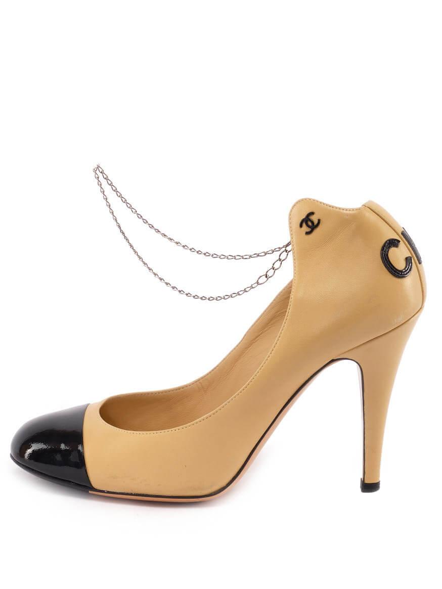 Women Chanel CC Cap Toe Pumps with Chain - Beige UK 5.5 US 8.5 EU 38.5