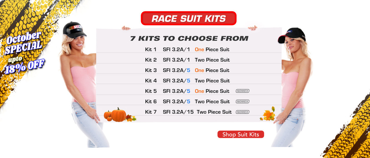 Race Suit packages, kits, sets, and combinations