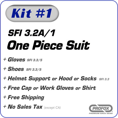 Kit-1 SFI 3.2A/1 1-Layer One Piece Race Suit Package