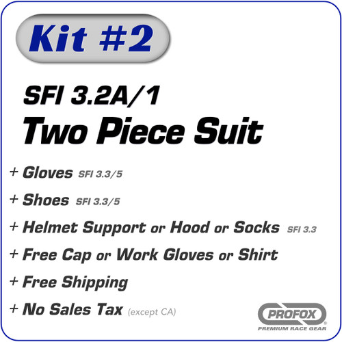 Kit-2 SFI 3.2A/1 1-Layer Two Piece Racing Suit Package