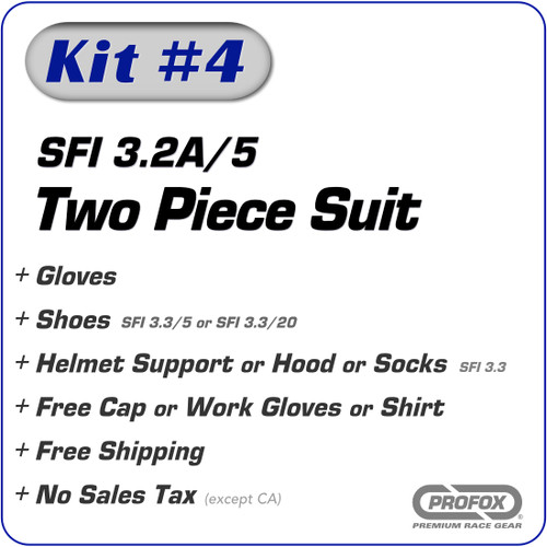 Kit-4 SFI 3.2A/5 2-Layer Two Piece Race Suit Package