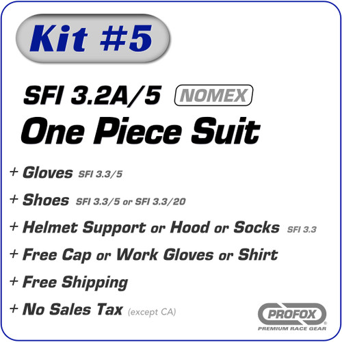 Kit-5 SFI 3.2A/5 2-Layer One Piece Nomex Racing Suit