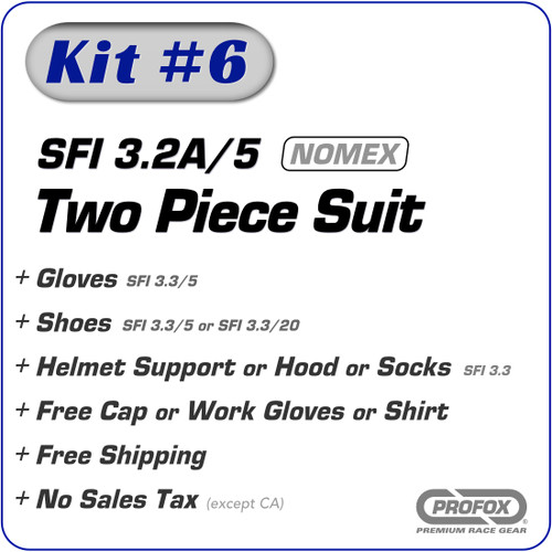 Kit-6 SFI 3.2A/5 2-Layer Two Piece Nomex Racing Fire Suit