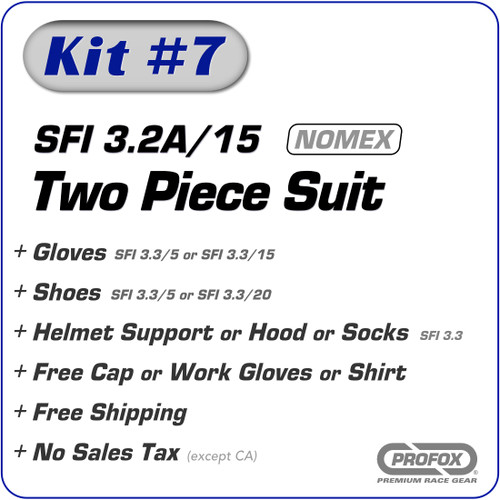 Kit-7 SFI 3.2A/15 Two-Piece Nomex Drag Racing Suit Package