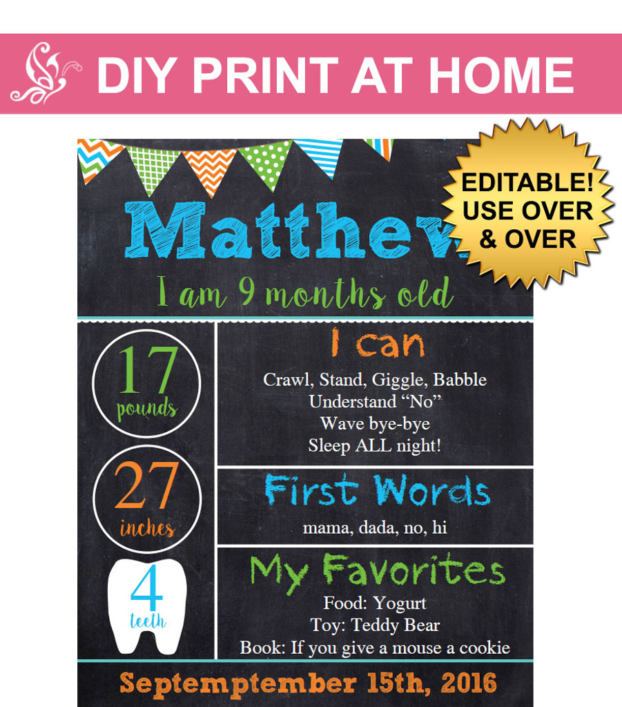 photograph about Printable Poster Board referred to as Boys printable milestone chalkboard poster
