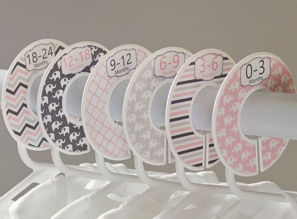 Pink & Gray Elephant baby closet dividers