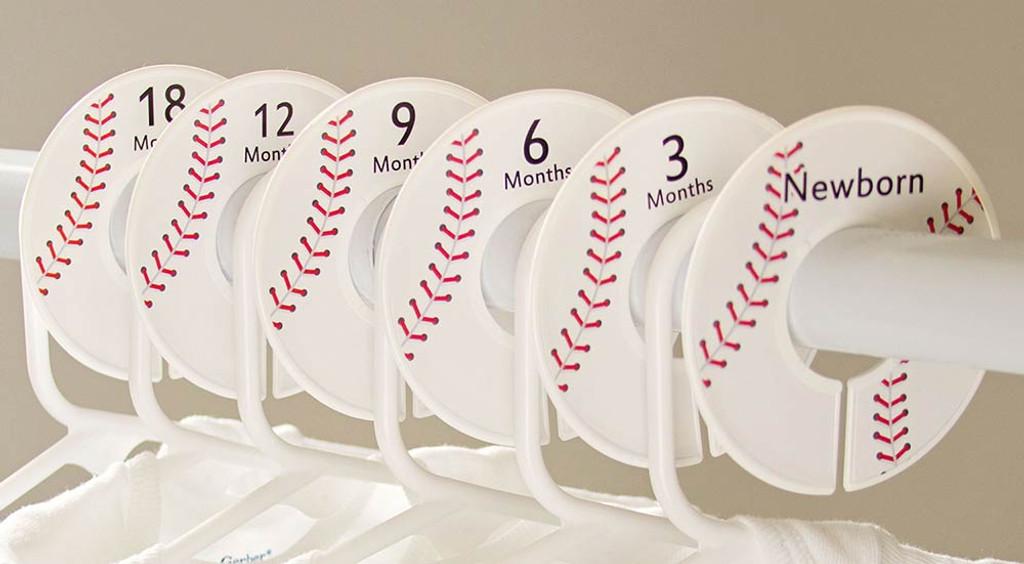 Baseball baby closet dividers