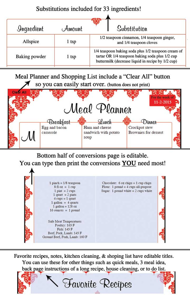 Red Damask Printable Recipe Book Template Editable PDF