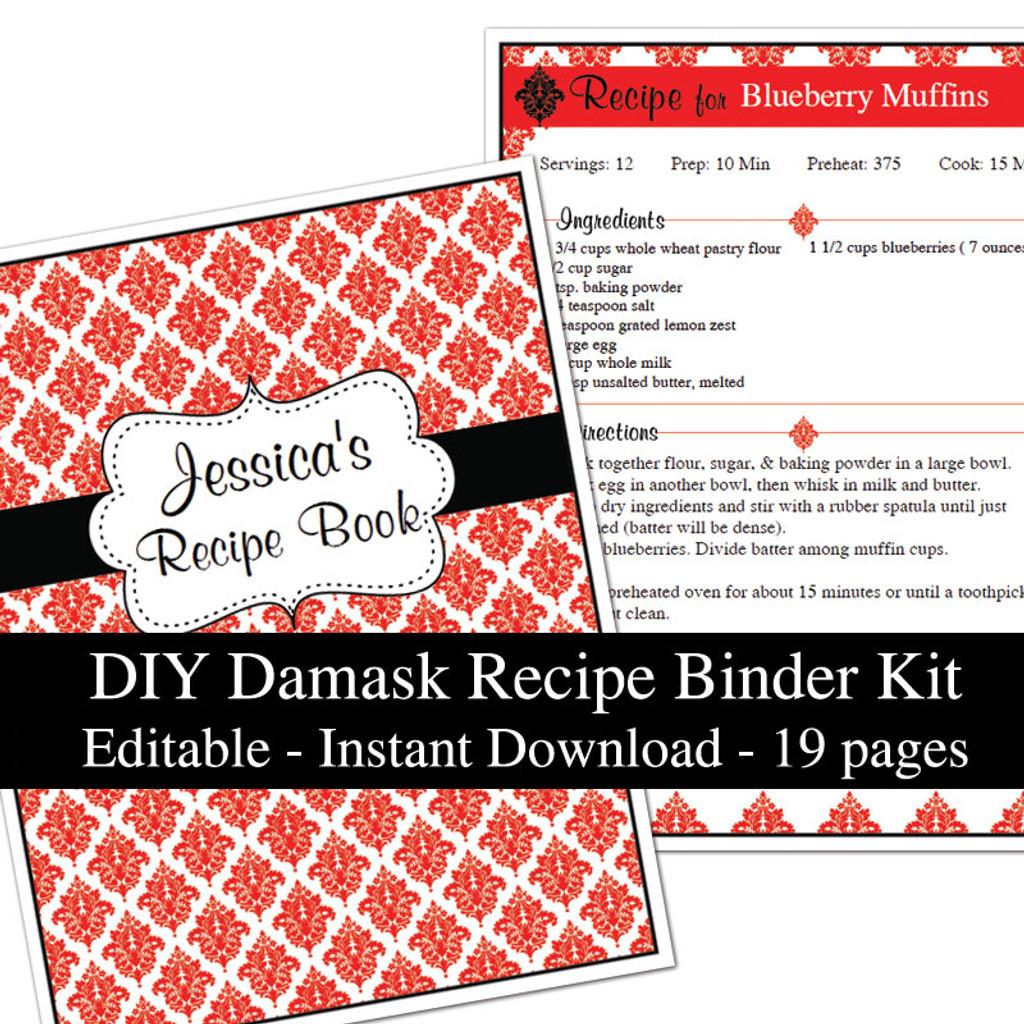 graphic relating to Printable Recipe Book identify Crimson Damask Printable Recipe Guide Template Editable PDF