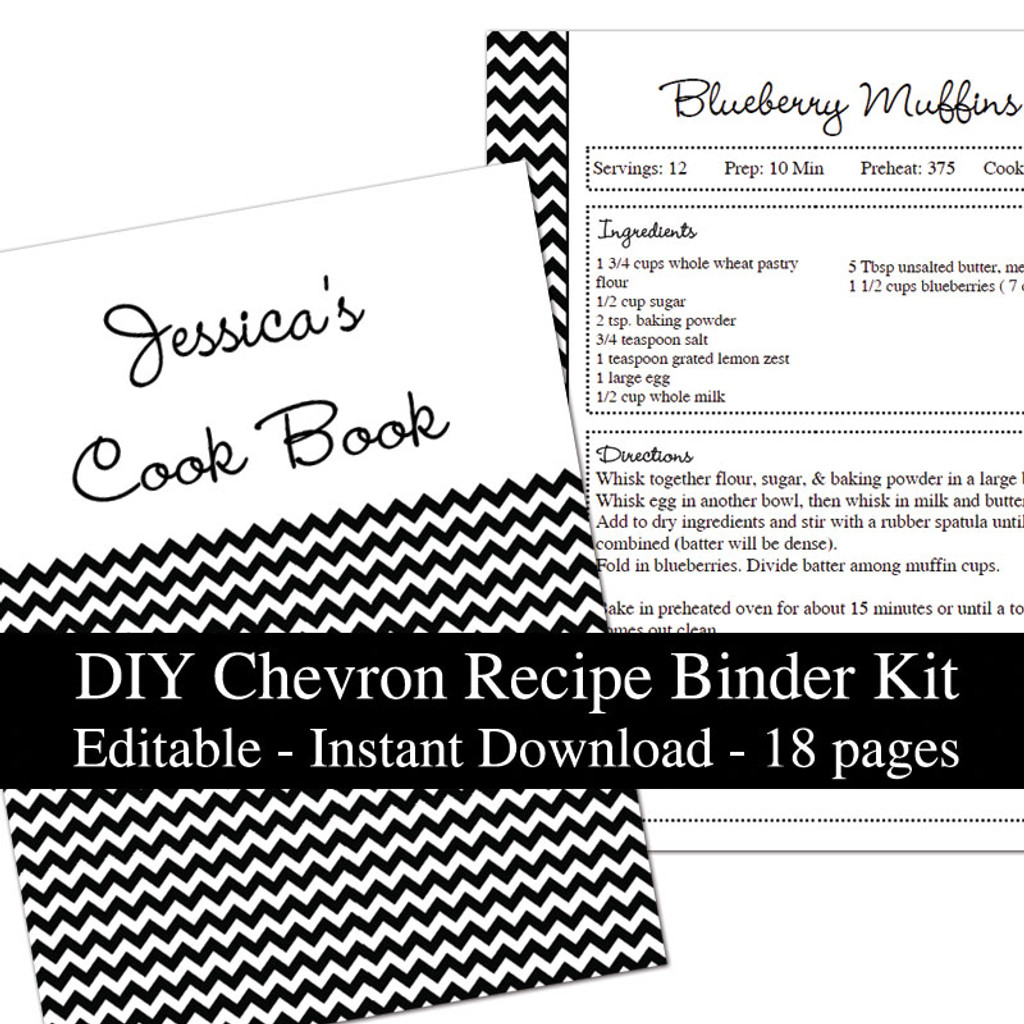 printable recipe book template