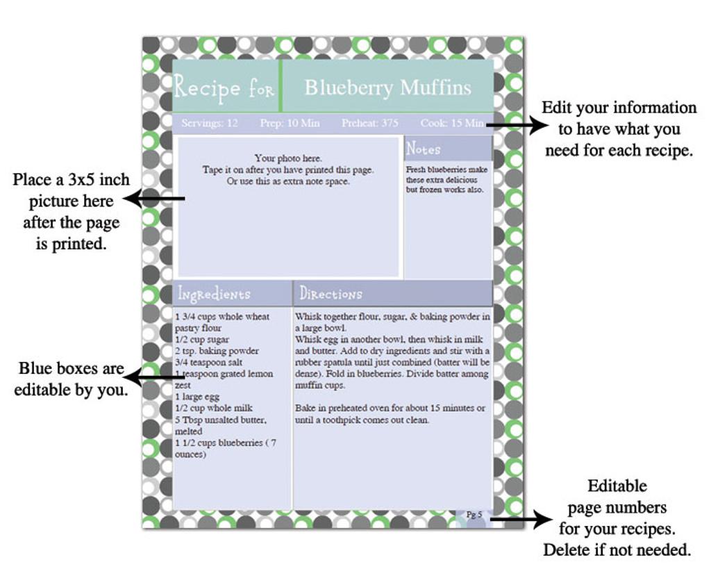 graphic relating to Printable Recipe Book known as Retro Eco-friendly Printable Recipe E book Template Editable PDF