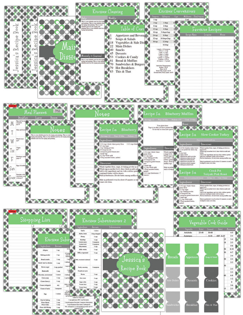 Retro Green Printable Recipe Book Template Editable PDF