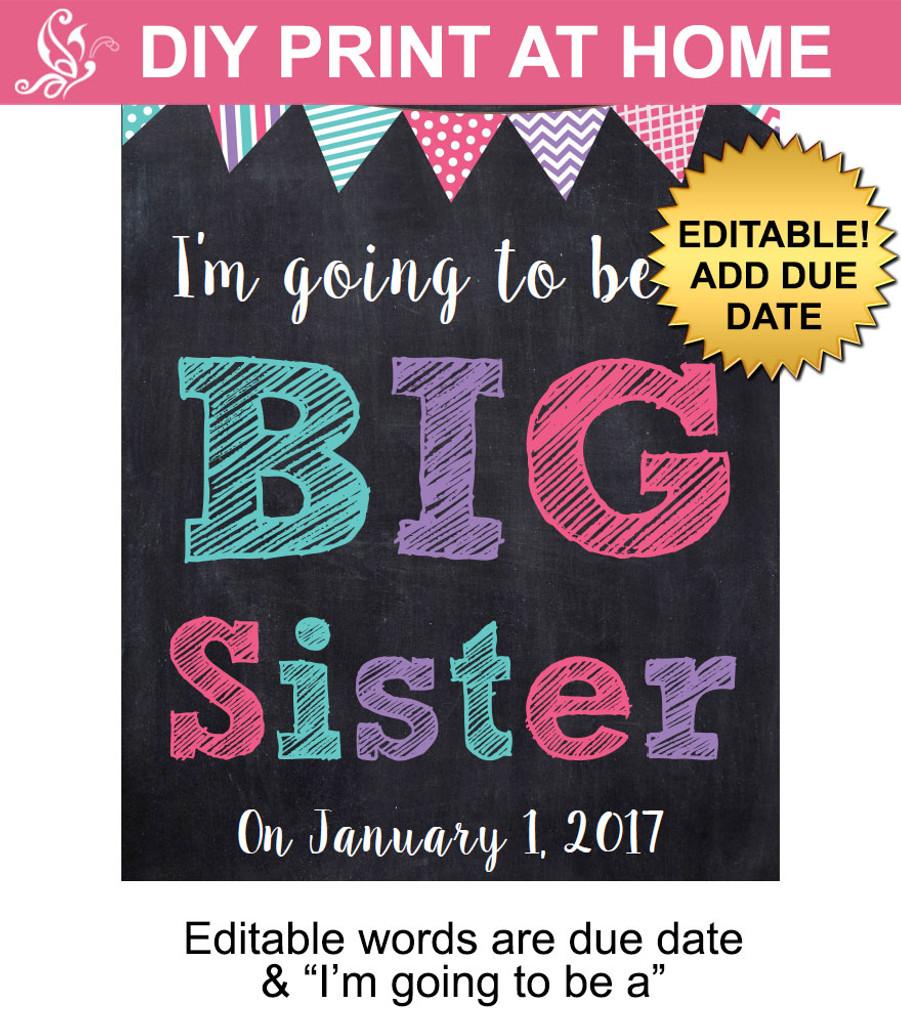 Big Sister Editable Printable Poster