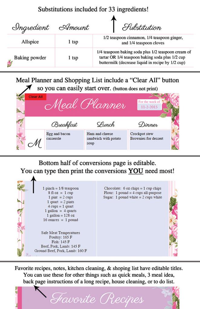 Pink Roses Printable Recipe Book Template Editable PDF