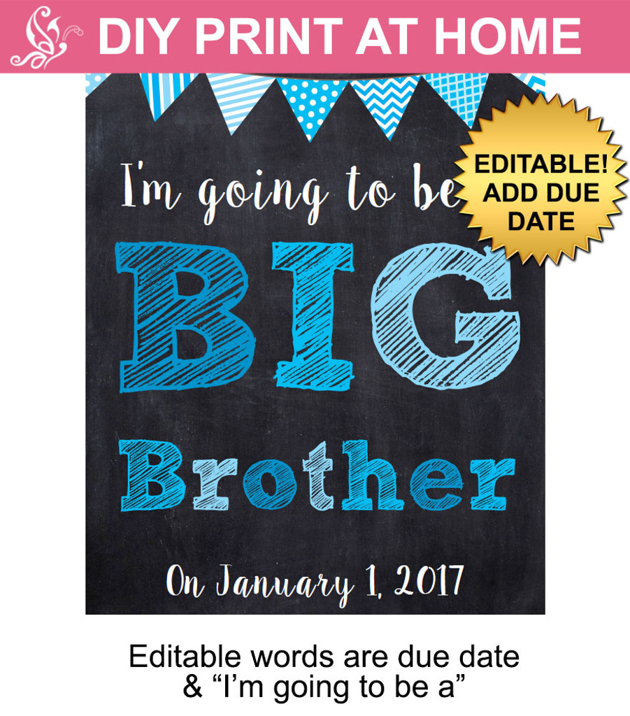 Blue Big Brother Editable Printable Poster