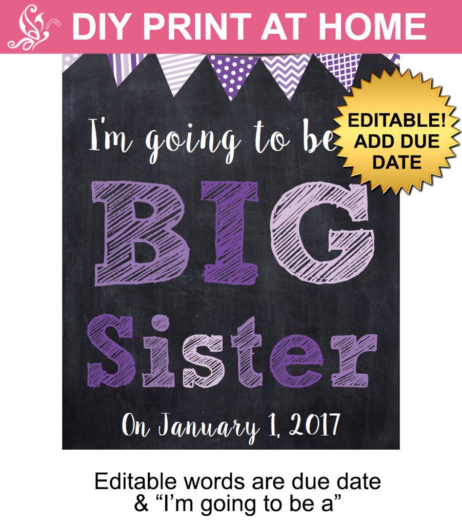 Purple Big Sister Editable Printable Poster