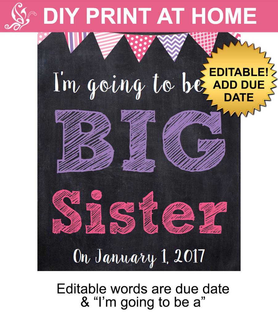 Pink & Purple Big Sister Editable Printable Poster