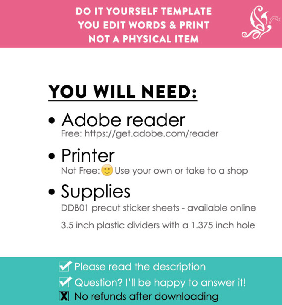 Pink & Turquoise Printable Closet Dividers