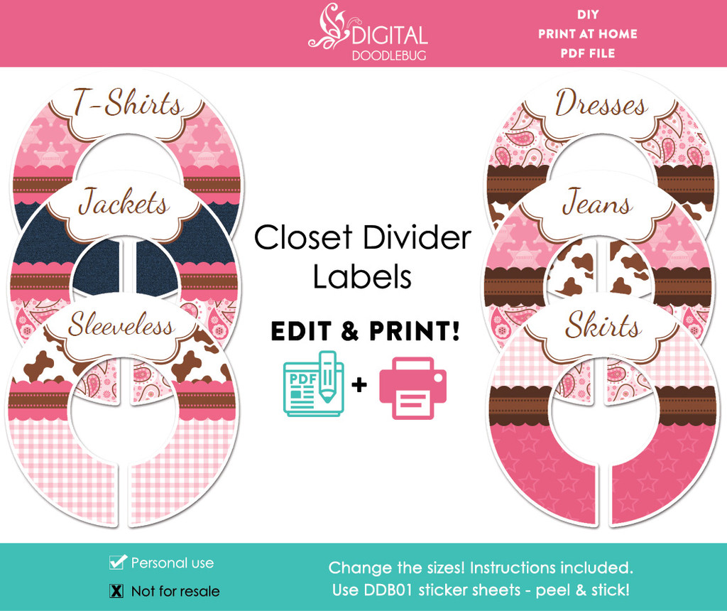 Cowgirl Printable Closet Dividers