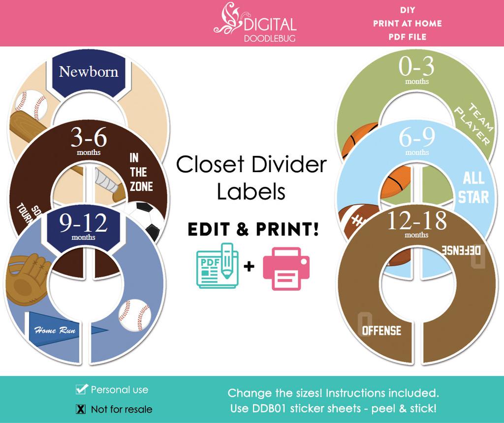 Sports Printable Closet Dividers