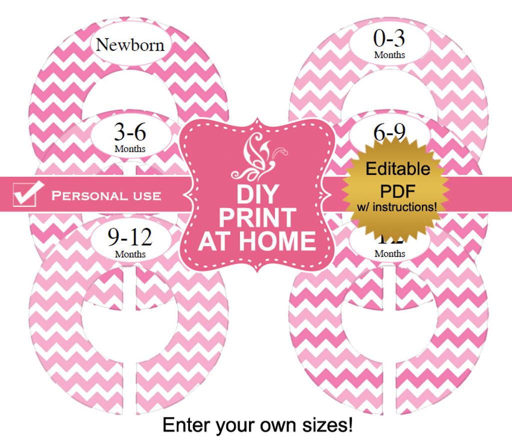 Pink Chevron Printable Closet Divider Label Template